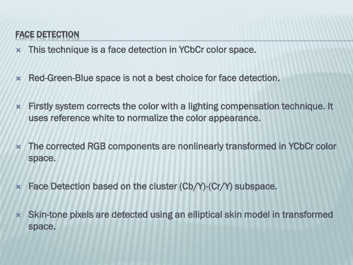 This technique is a face detection in YCbCr color space.