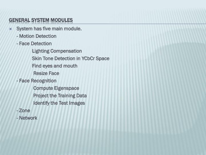 System has five main module.