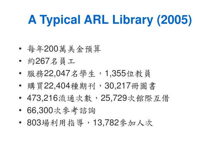 A Typical ARL Library (2005)