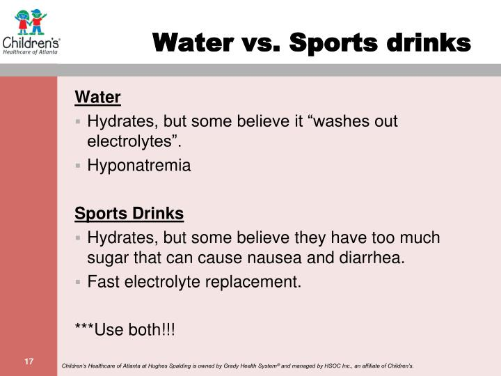 Water vs. Sports drinks