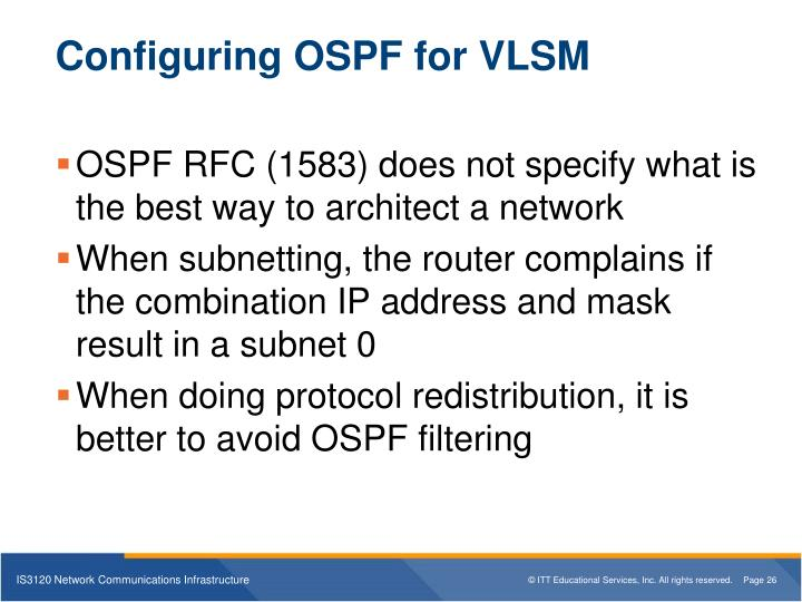 Configuring OSPF for VLSM