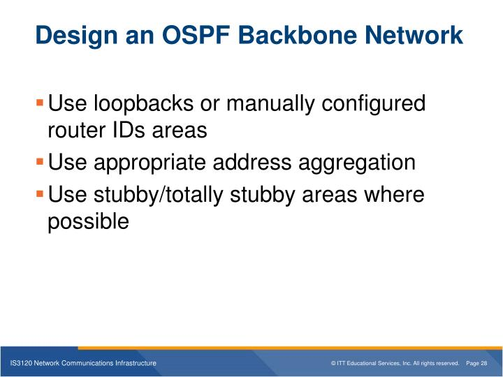 Design an OSPF Backbone Network