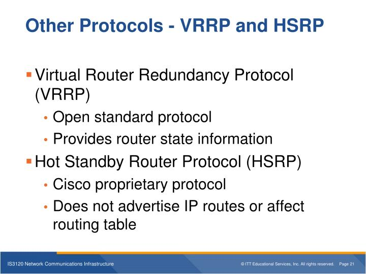 Other Protocols - VRRP and HSRP