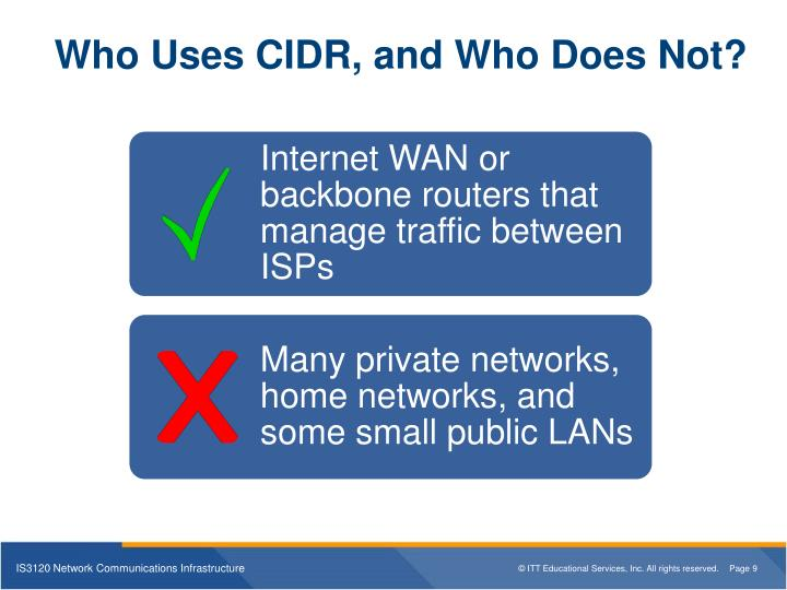 Who Uses CIDR, and Who Does Not?