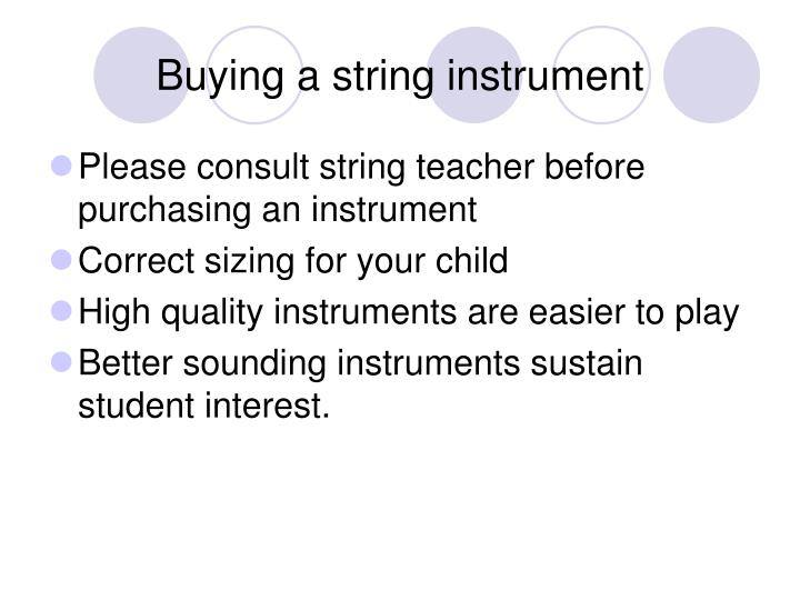 Buying a string instrument