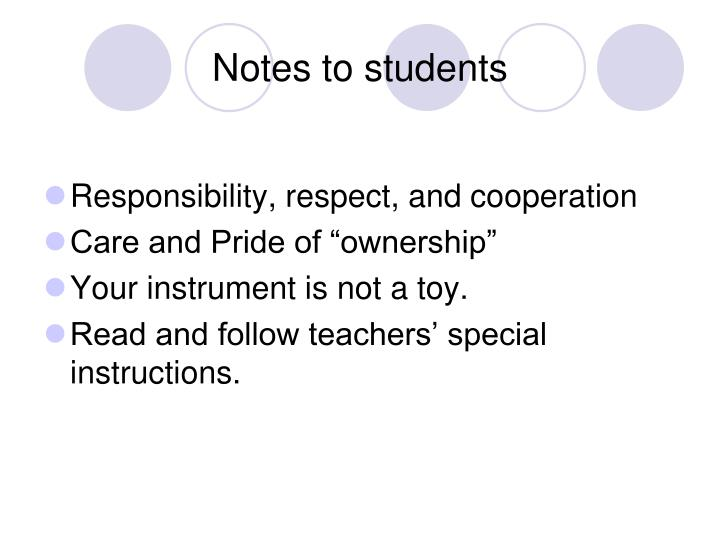 Notes to students