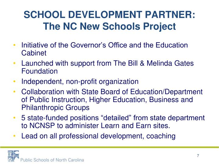SCHOOL DEVELOPMENT PARTNER: