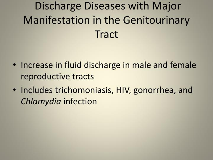 Discharge Diseases with Major Manifestation in the Genitourinary Tract
