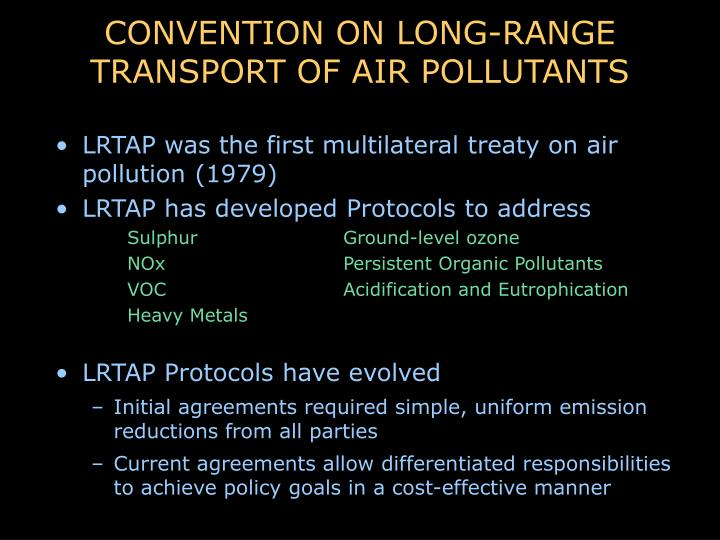 Convention on long range transport of air pollutants