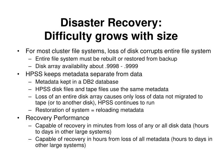 Disaster Recovery: