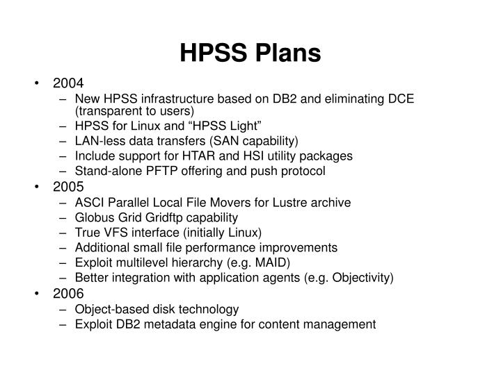 HPSS Plans