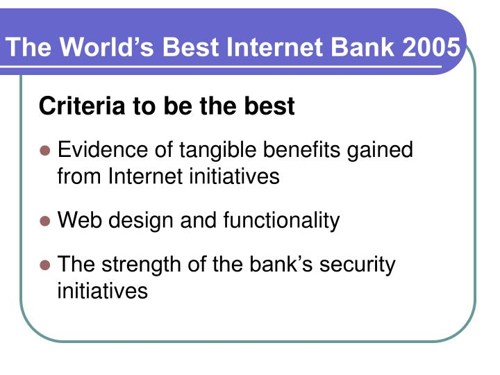 The World's Best Internet Bank 2005