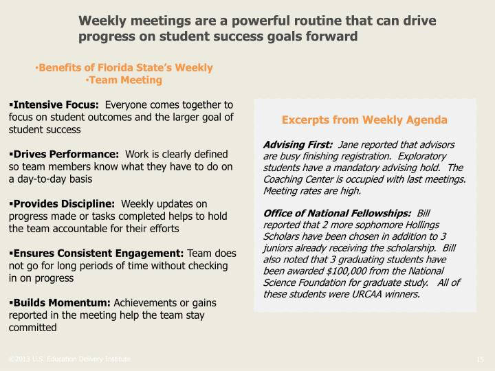 Weekly meetings are a powerful routine that can drive progress on student success goals forward