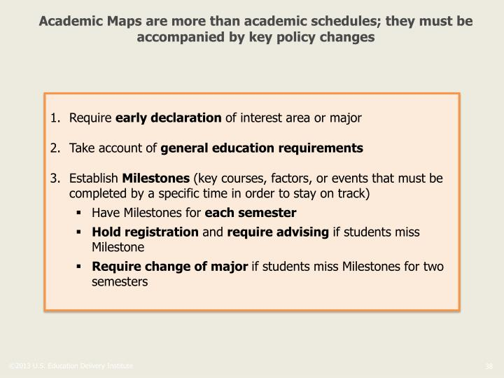 Academic Maps are more than academic schedules; they must be accompanied by key policy changes