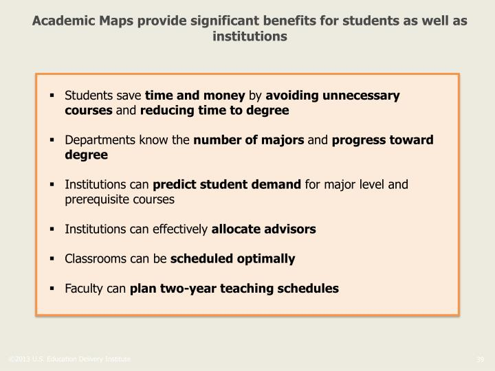 Academic Maps provide significant benefits for students as well as institutions