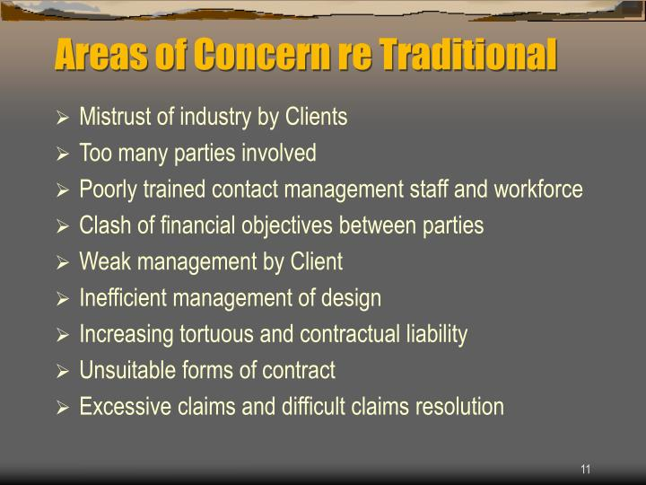 Areas of Concern re Traditional