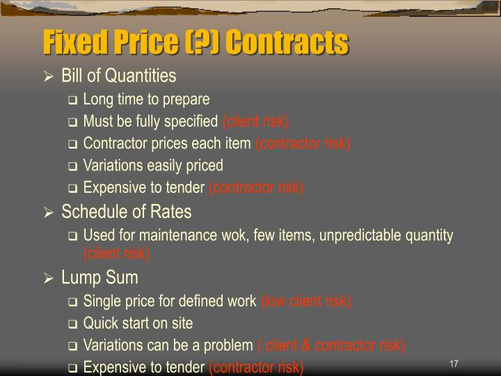 Fixed Price (?) Contracts