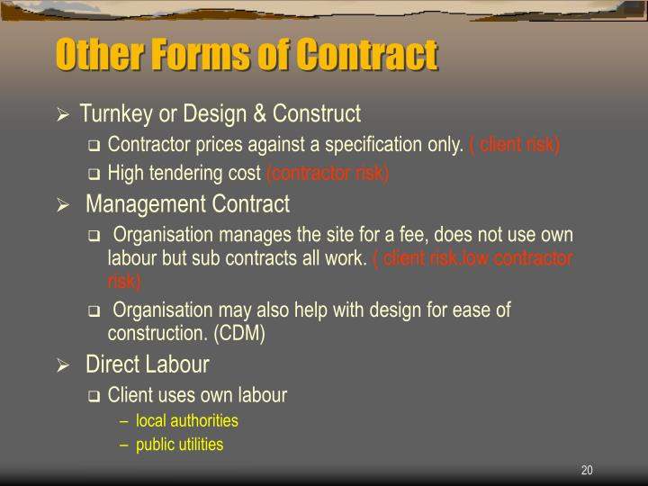 Other Forms of Contract