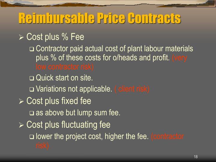 Reimbursable Price Contracts