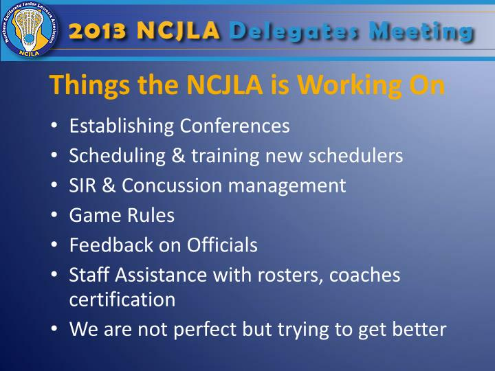 Things the NCJLA is Working On