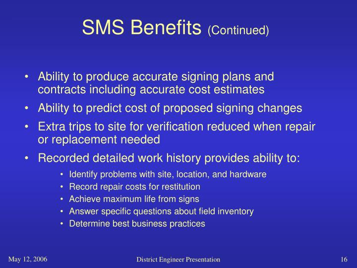 SMS Benefits