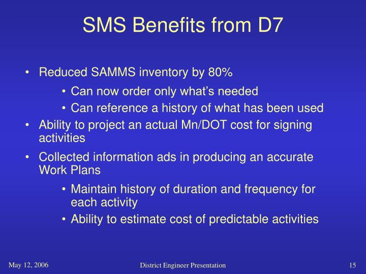 SMS Benefits from D7