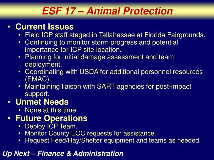ESF 17 – Animal Protection