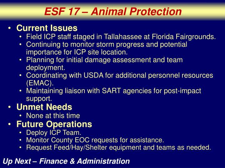 ESF 17 – Animal Protection
