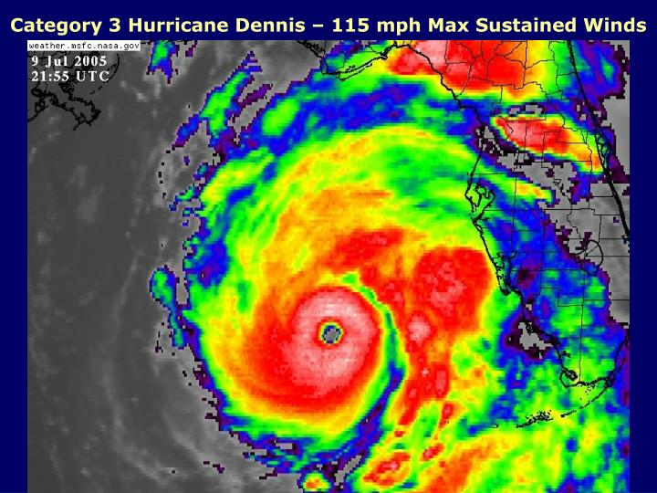 Category 3 Hurricane Dennis – 115 mph Max Sustained Winds