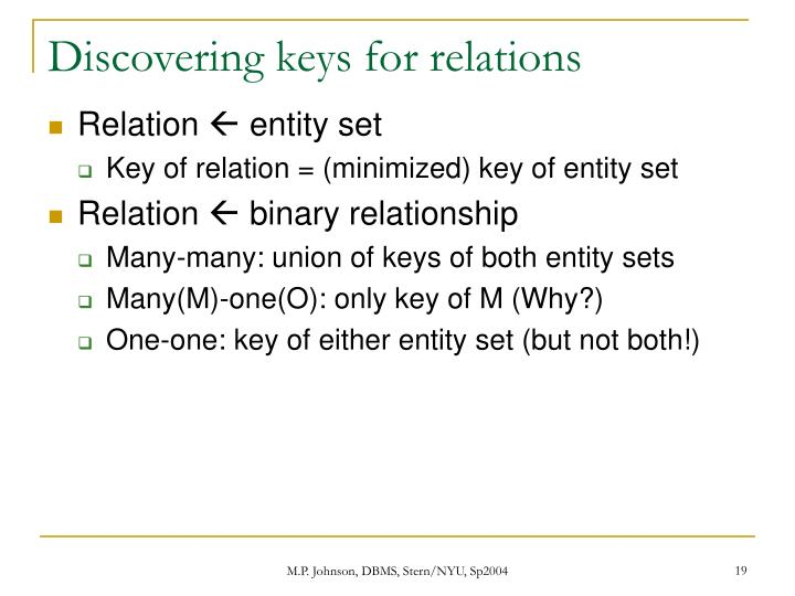 Discovering keys for relations
