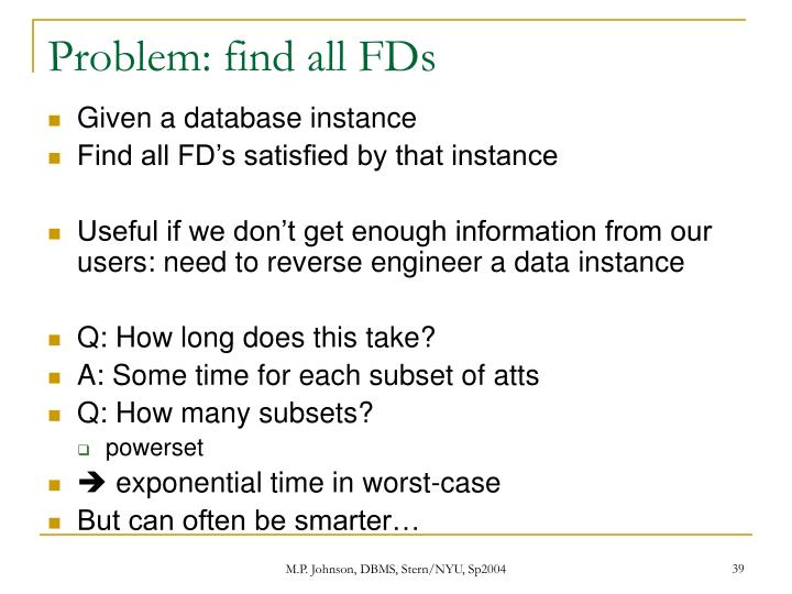 Problem: find all FDs