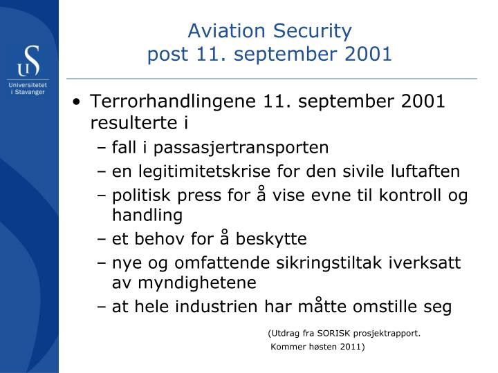 Aviation security post 11 september 2001