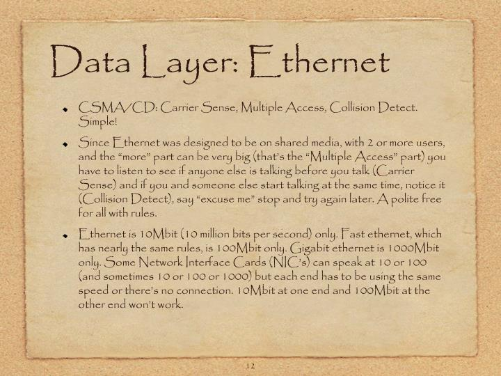Data Layer: Ethernet