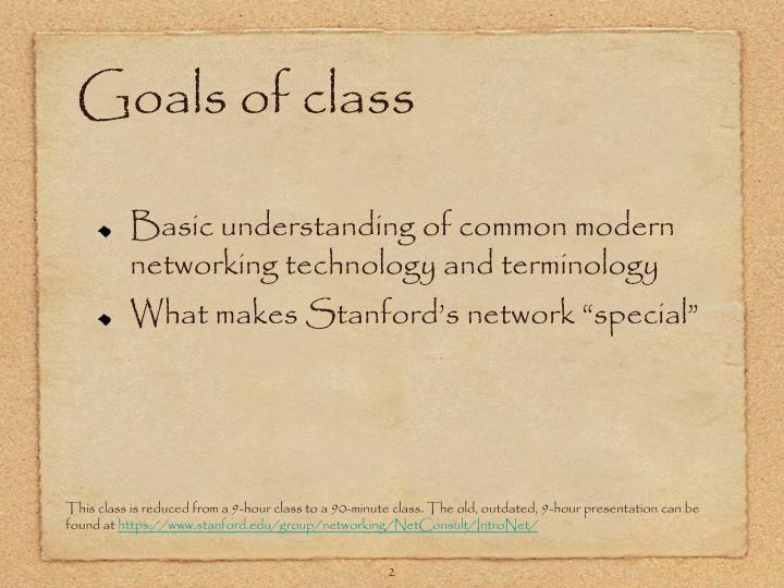 Goals of class