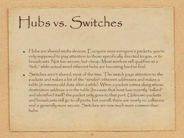 Hubs vs. Switches