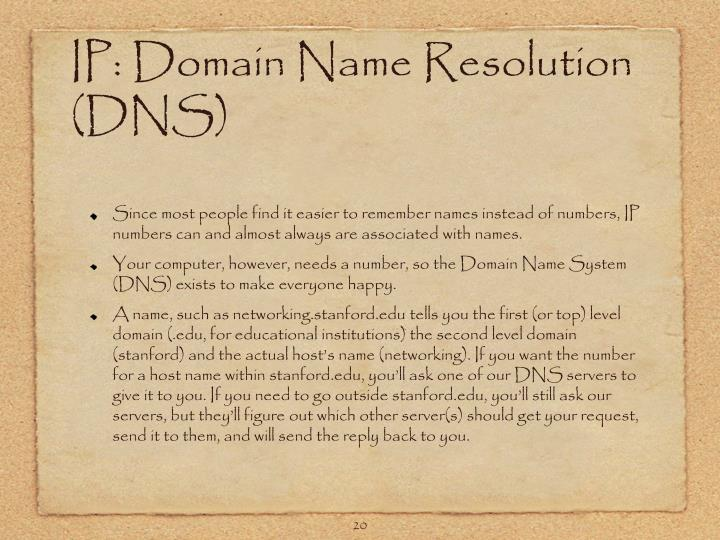 IP: Domain Name Resolution (DNS)