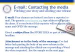 e mail contacting the media