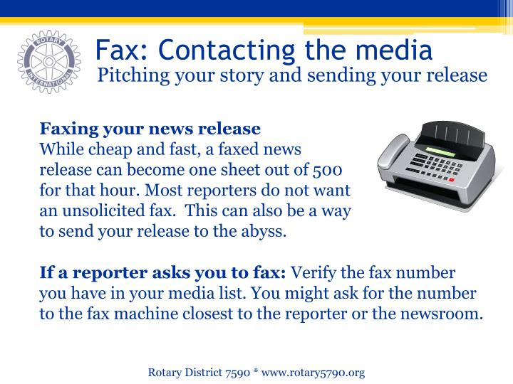 Fax: Contacting the media