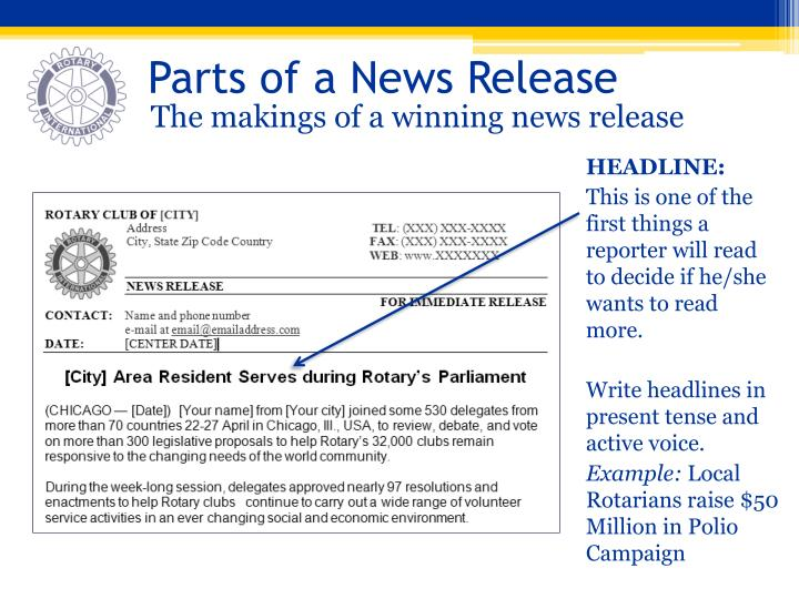 Parts of a News Release