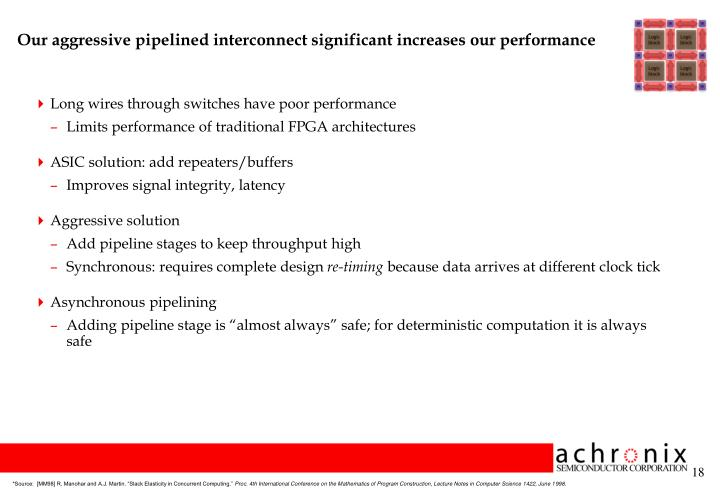 Our aggressive pipelined interconnect significant increases our performance