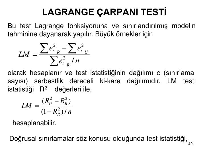 LAGRANGE ARPANI TEST