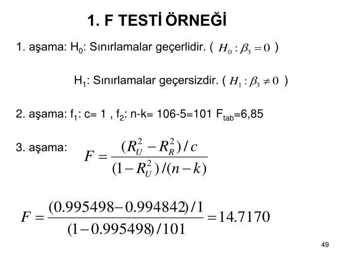 1. F TESTİ
