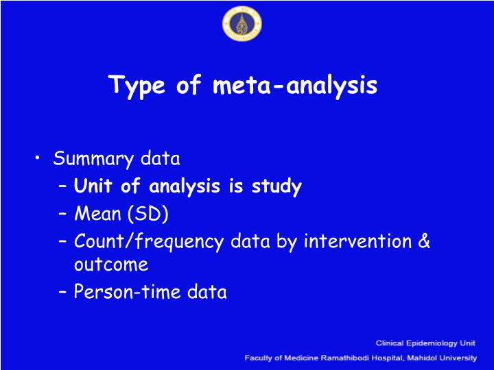 Type of meta analysis