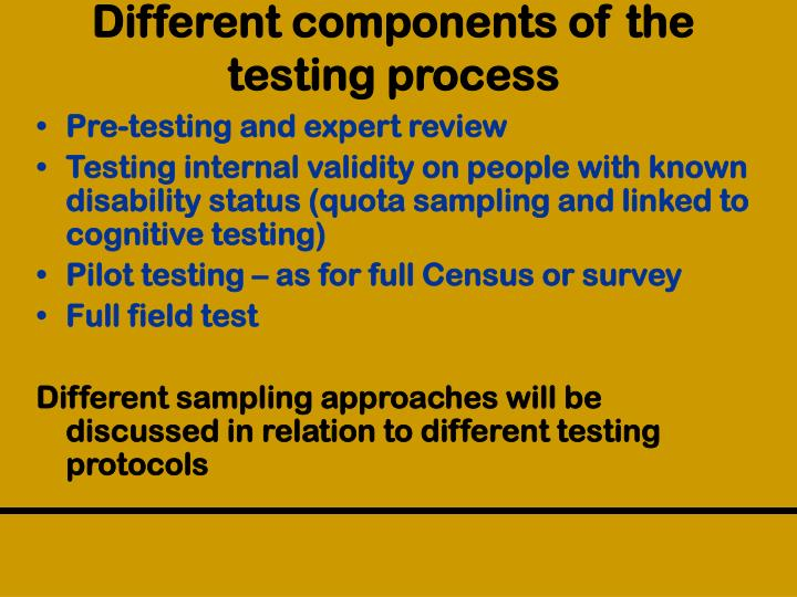 Different components of the testing process
