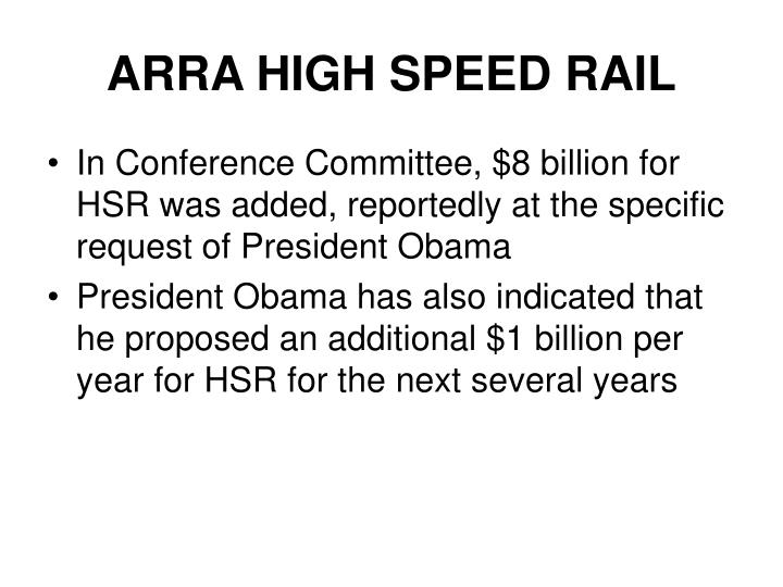 ARRA HIGH SPEED RAIL