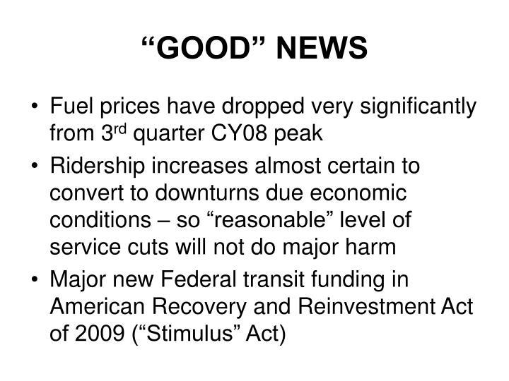 """""""GOOD"""" NEWS"""