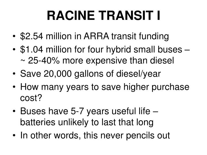 RACINE TRANSIT I