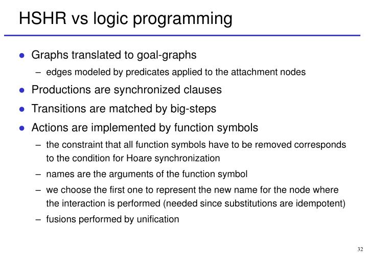 HSHR vs logic programming