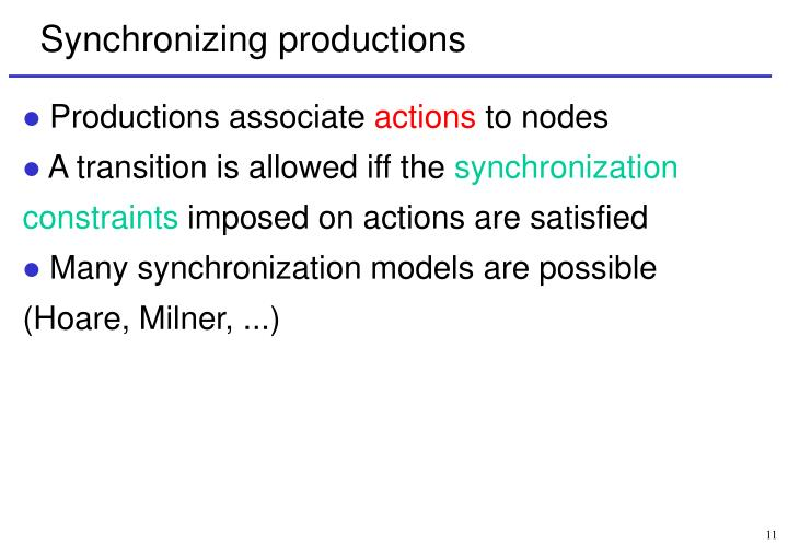 Synchronizing productions