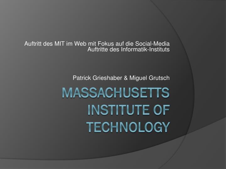 Auftritt des MIT im Web mit Fokus auf die